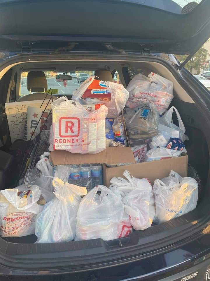 A trunk full of food donated by the community