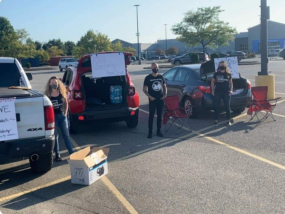 Volunteers collected food at Walmart