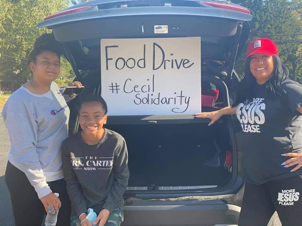 Volunteers collected food throughout the county.