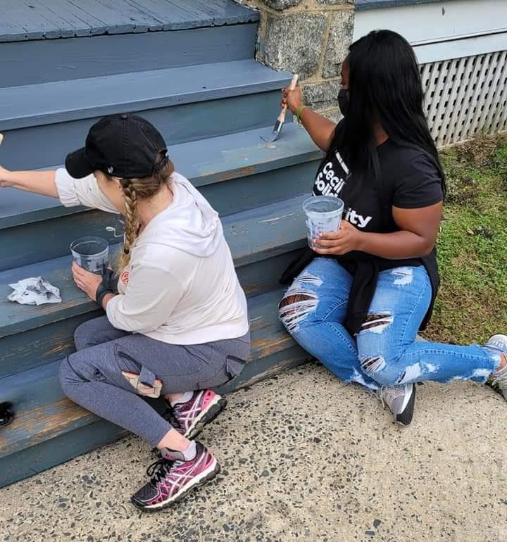 Volunteers painted the stairs
