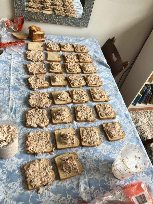Sandwiches being prepared for dinner