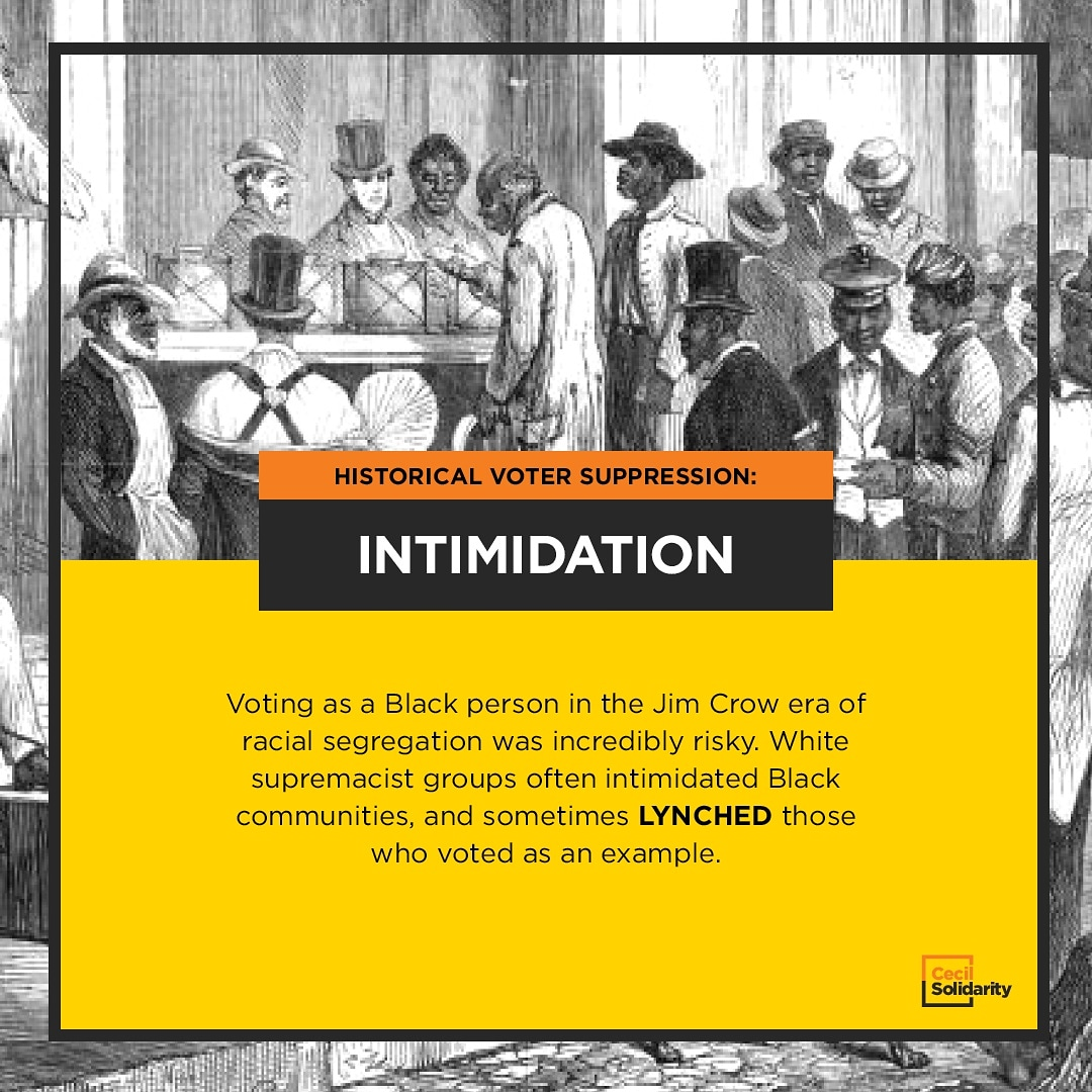 Voting as a Black person in the Jim Crow era of racial segregation was incredibly risky. White supremacist groups often intimidated Black communities, and sometimes lynched those who voted as an example.