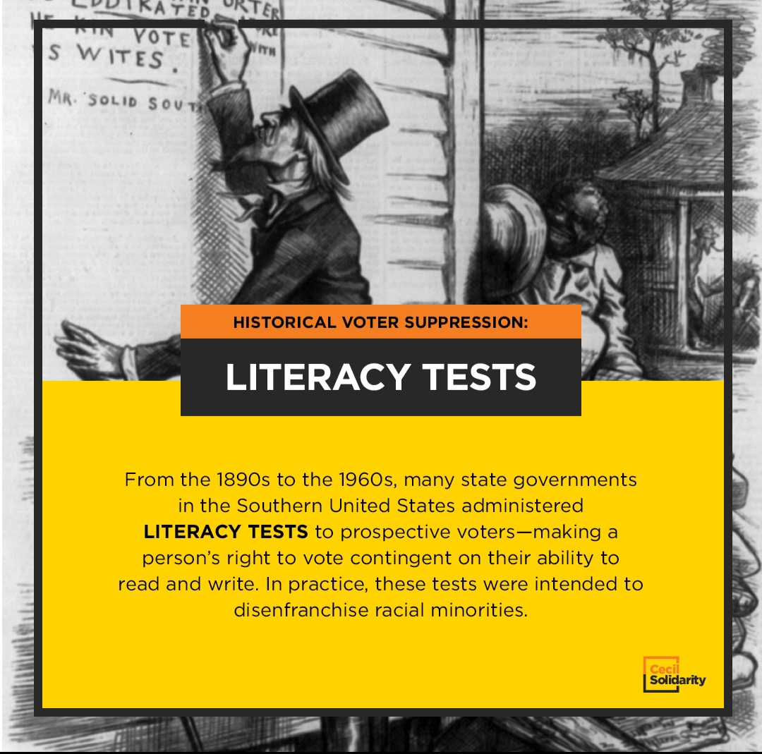 From the 1890s to the 1960s, many state governments in the Southern United States administered literacy tests to prospective voters—making a person's right to vote contingent on their ability to read and write. In practice, these tests were intended to disenfranchise racial minorities.