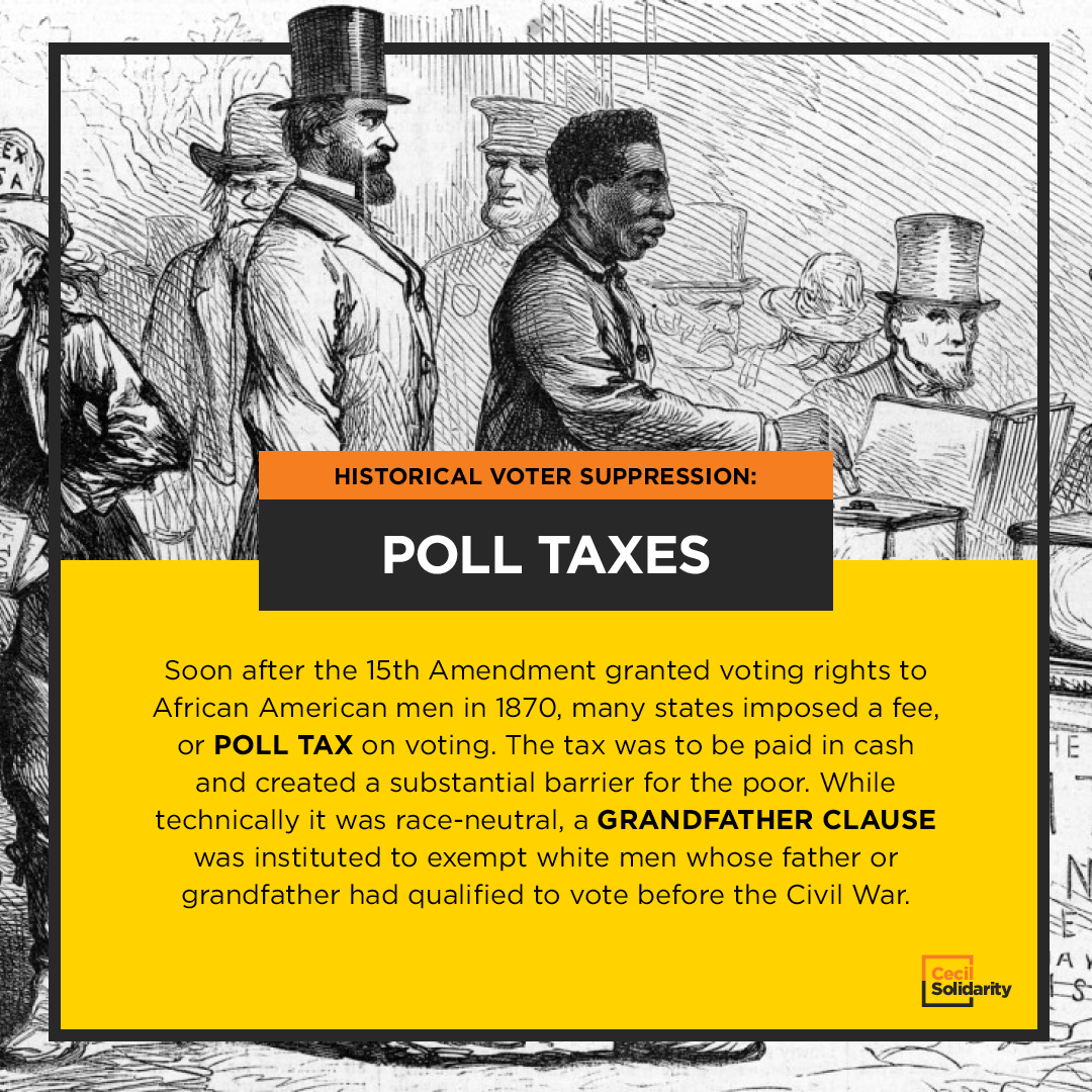 Soon after the 15th Amendment granted voting rights to African American men in 1870, many states imposed a fee, or poll tax on voting. The tax was to be paid in cash and created a substantial barrier for the poor. While technically it was race-neutral, a grandfather clause was instituted to exempt white men whose father or grandfather had qualified to vote before the Civil War.